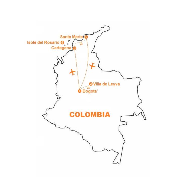 Mappa viaggi-colombia