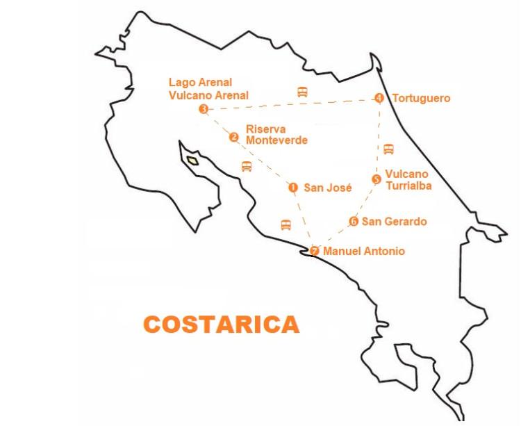 Mappa viaggi tour Costarica