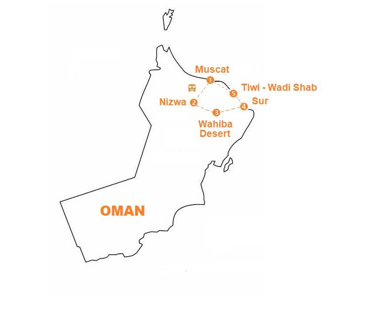 Mappa viaggio-oman