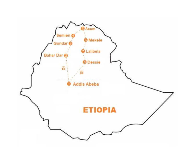 Mappa viaggio-etiopia
