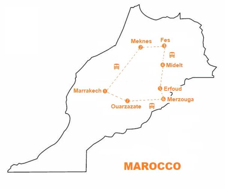 Mappa viaggio-marocco