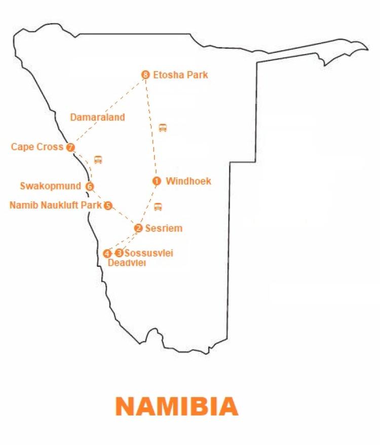 Mappa viaggio-namibia