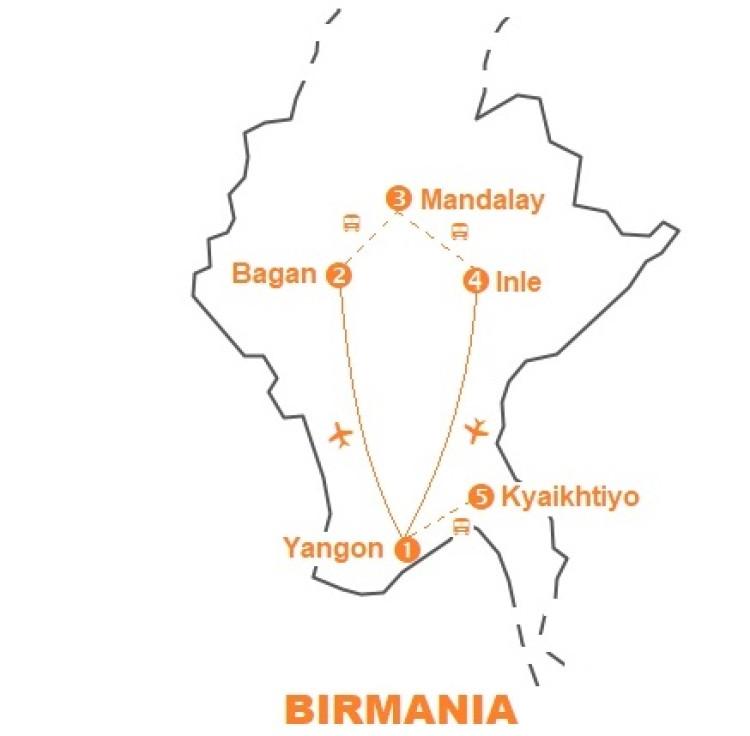 Mappa viaggio-birmania