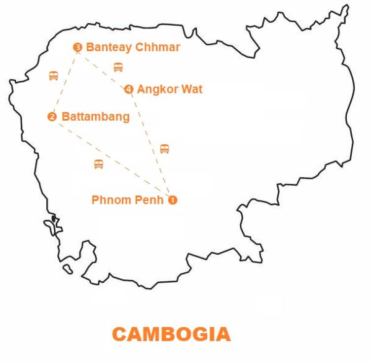 Mappa viaggio-cambogia