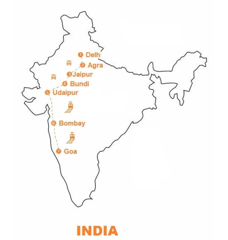Mappa Viaggio-India